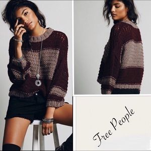 Free People Wool Blend Chunky Knit Sweater Sz S